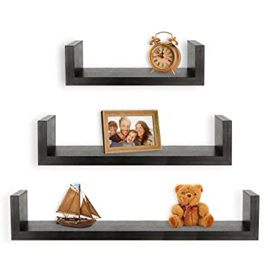 Greenco Set of 3 Floating U Shelves, Espresso Finish