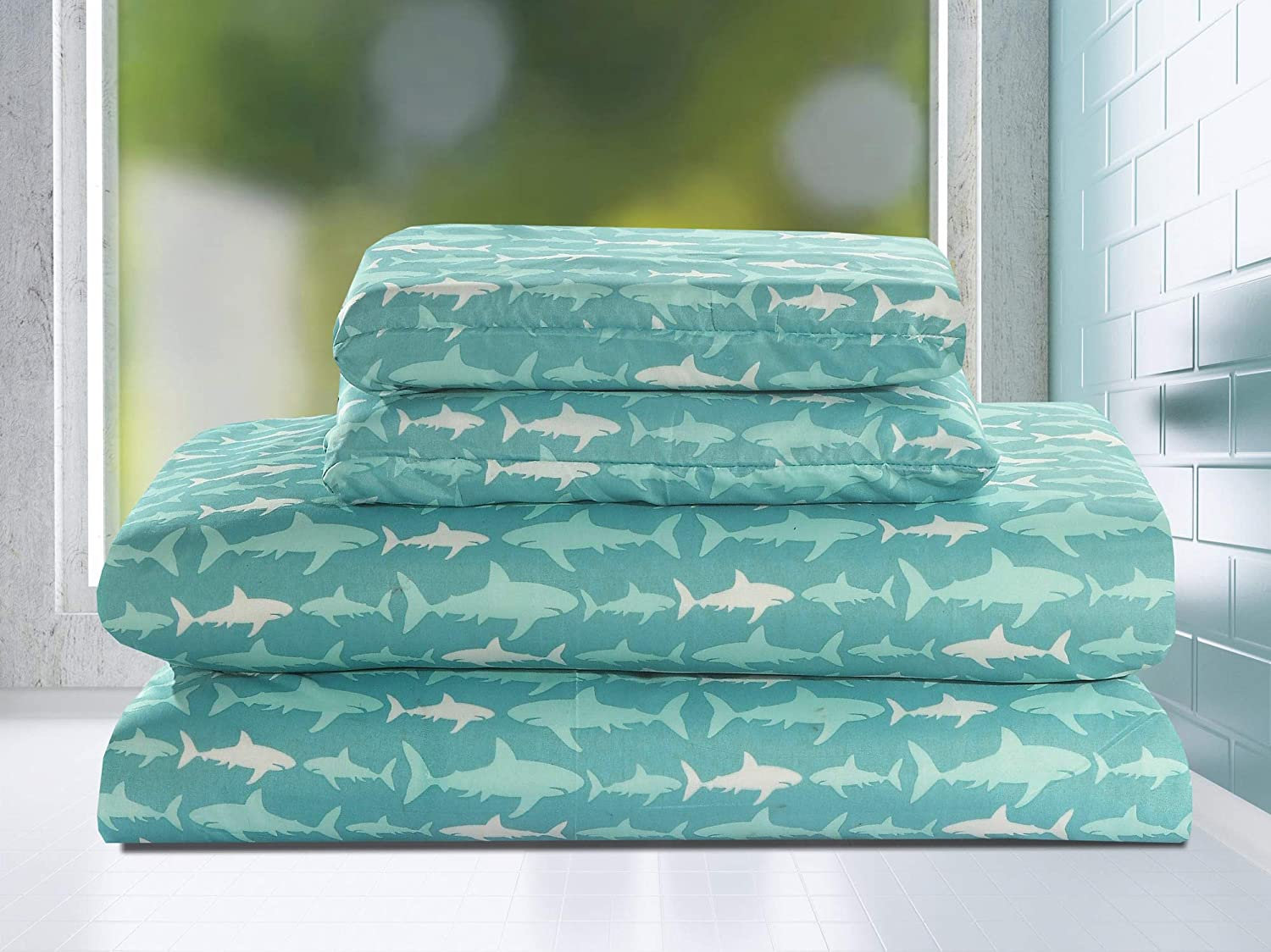 HowPlum Full 4 Piece Microfiber Sheet Set Shark Bedding Kids Teal Blue White