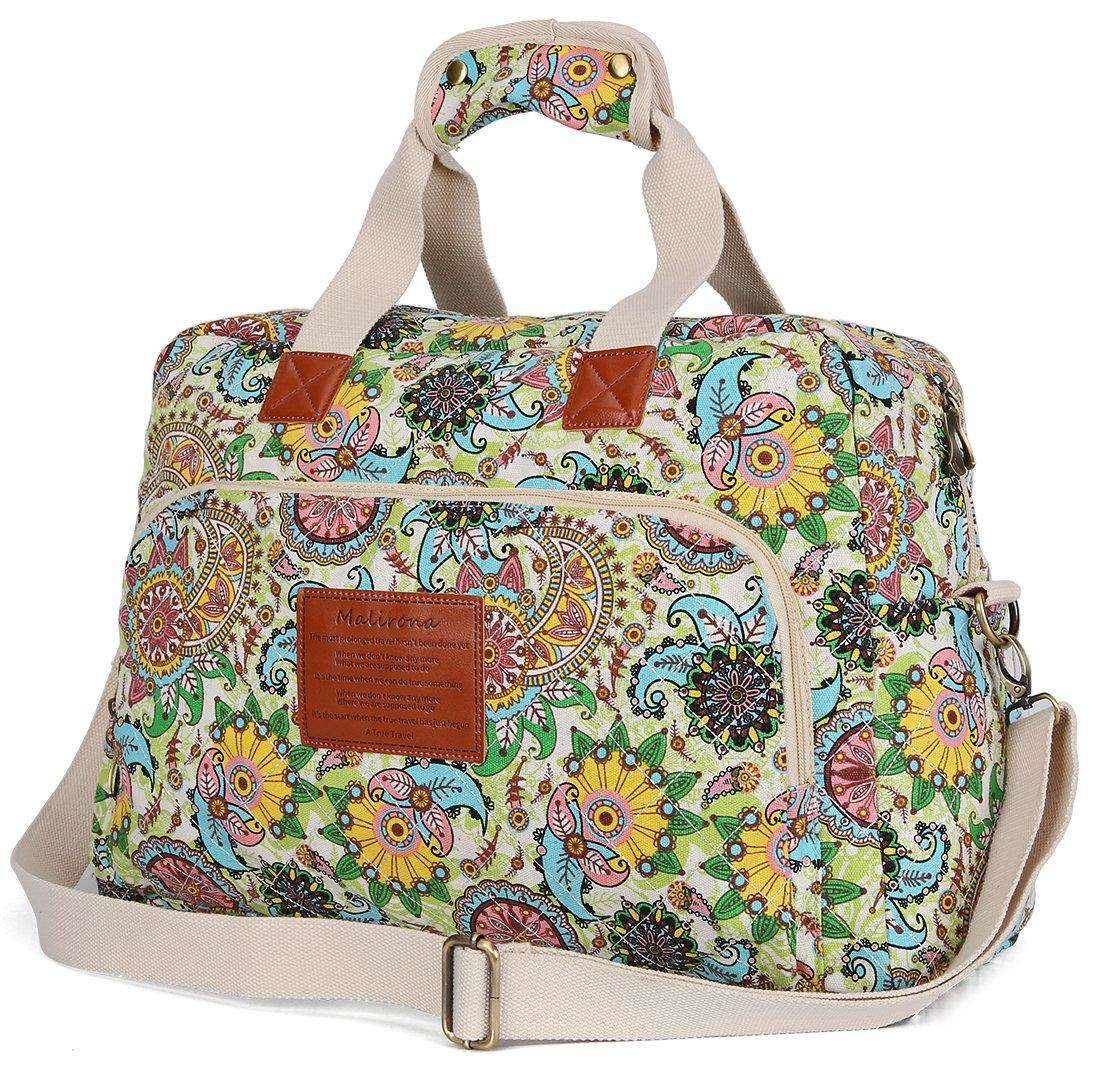 Malirona Canvas Overnight Bag Women Weekender Bag Carry On Travel Duffel Bag Floral Design (Flower) by Malirona (Image #4)