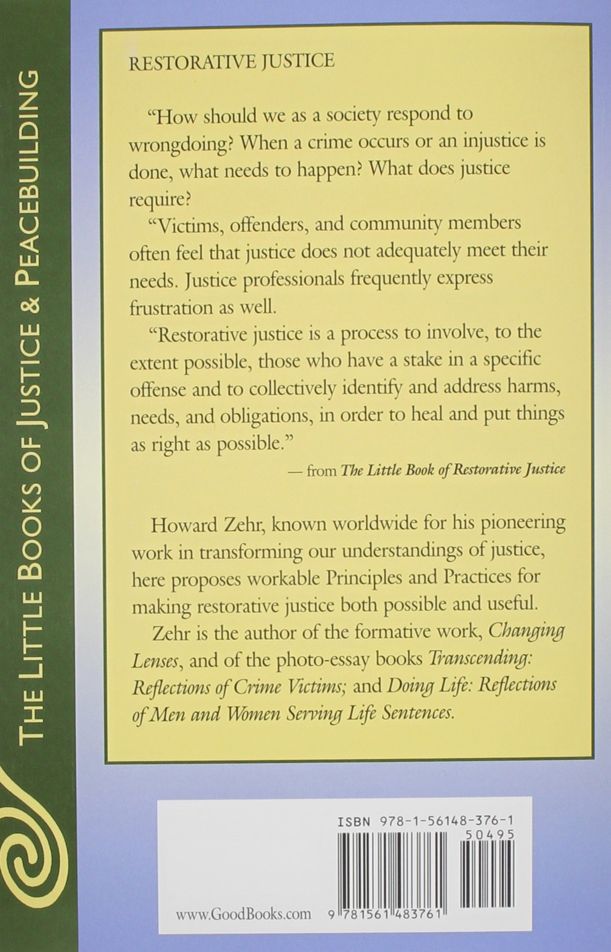 the little book of restorative justice the little books of  the little book of restorative justice the little books of justice peacebuilding howard zehr 9781561483761 com books