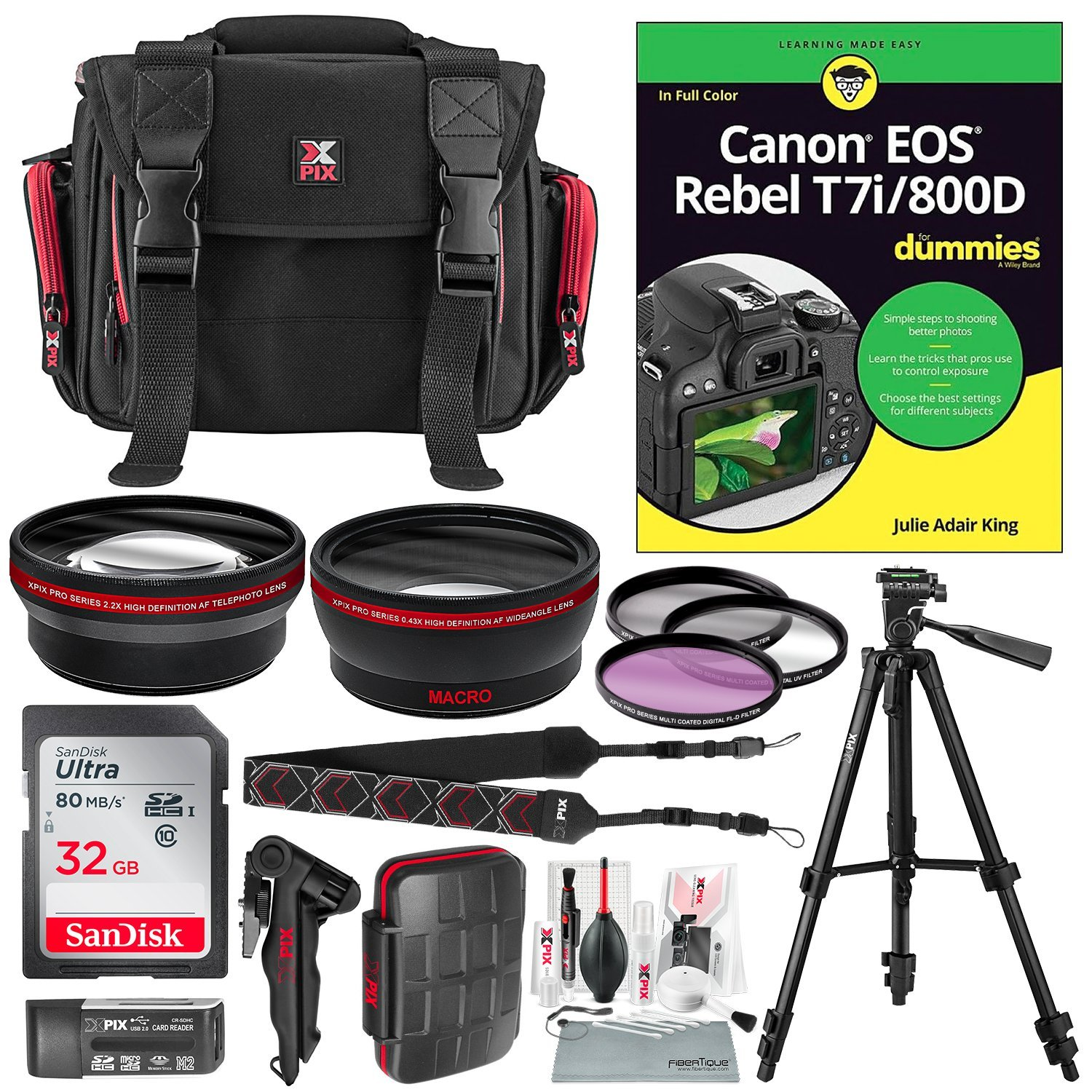 Canon EOS Rebel T7i/800D for Dummies + Deluxe Accessory Bundle with Xpix Tripods, Lenses, Filters, 32GB, Premium DSLR Bag, Replacement Battery w/Charger, Complete Cleaning Kit, More
