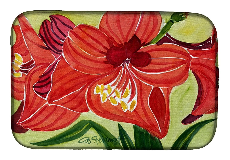 Caroline 's Treasures 6055ddm flower-amaryllisディッシュ乾燥マット、14 x 21、マルチカラー   B07C916SLF
