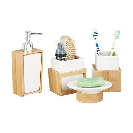 Portasapone Bagno In Ceramica.Relaxdays 10022205 Set Accessori Bagno 4 Pezzi Dispenser Porta Sapone Porta Spazzolino Bambu Ceramica Marrone E Bianco