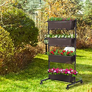 Taleco Gear 4 Tier Vertical Raised Garden Bed, Vertical Freestanding Wooden Plant Rack, Flower Stand Classification Storage Box Shelf for Indoor Outdoor