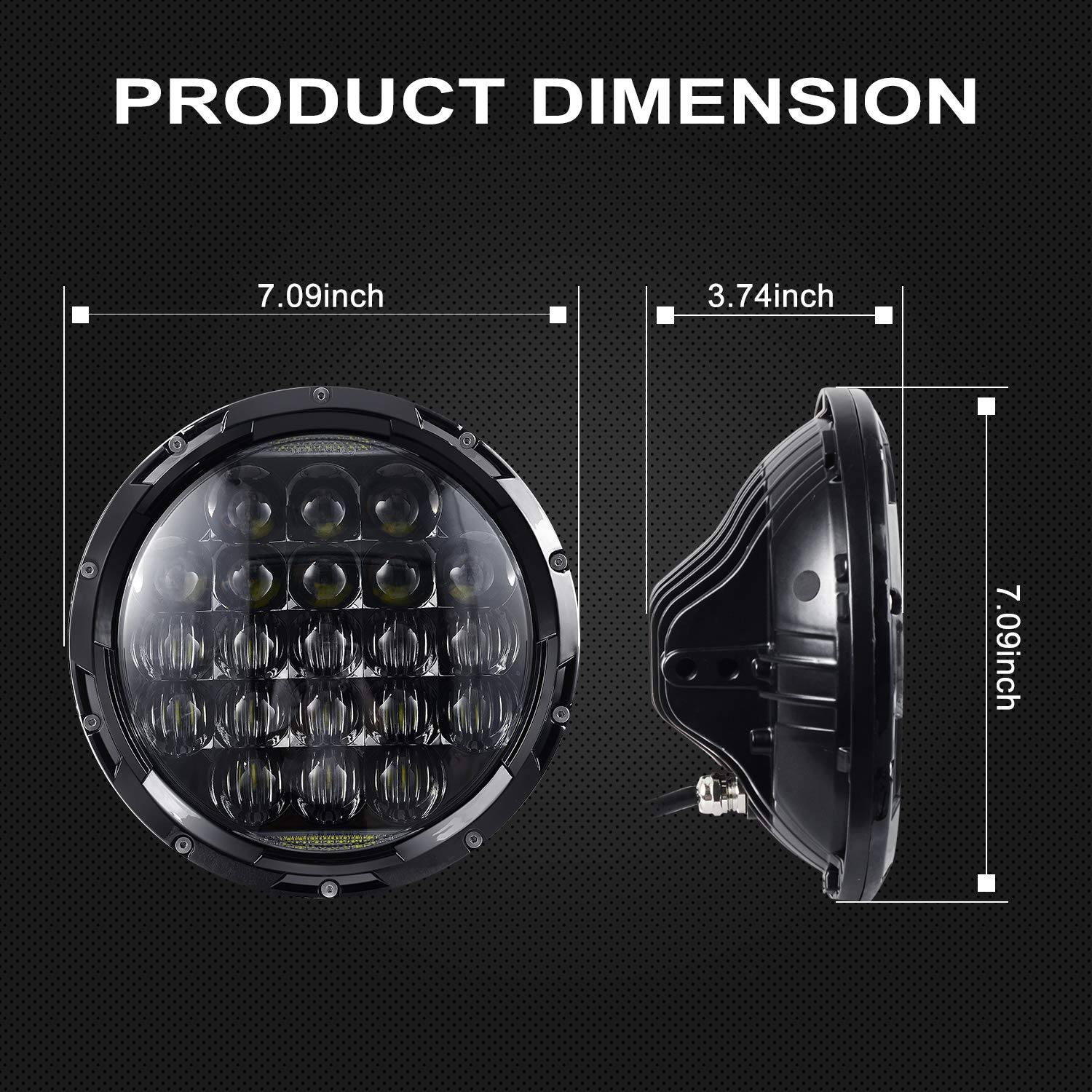 7 Inch 105W LED Projector Headlight Round 5D Lens with DRL for Jeep Wrangler JK TJ LJ CJ Motorcycle AAIWA LED Headlight for Jeep Wrangler