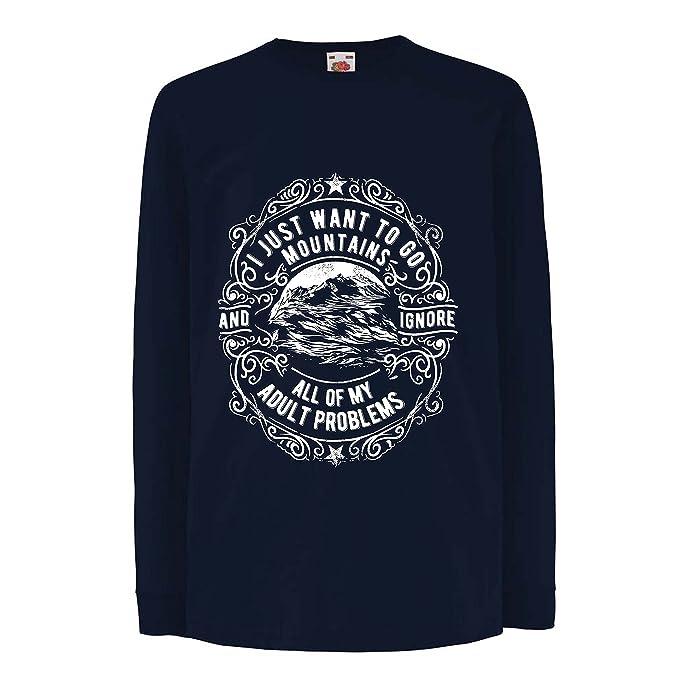 lepni.me Camisetas Hombre Solo Quiero IR a Las Montañas: Regalo Increíble, Invierno, Vacaciones de Verano, Lemas de Viajes