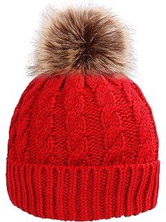 cc0b085d1fe004 Amazon.com: Aesthetinc Classic Leopard Print Knit Pom Pom Beanie Hat ...