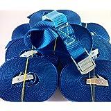 10x Spanngurt 6 Meter 250kg Zurrgurt Spangurte mit Klemmschloss Schnellspannung Farbe: blau, iapyx®