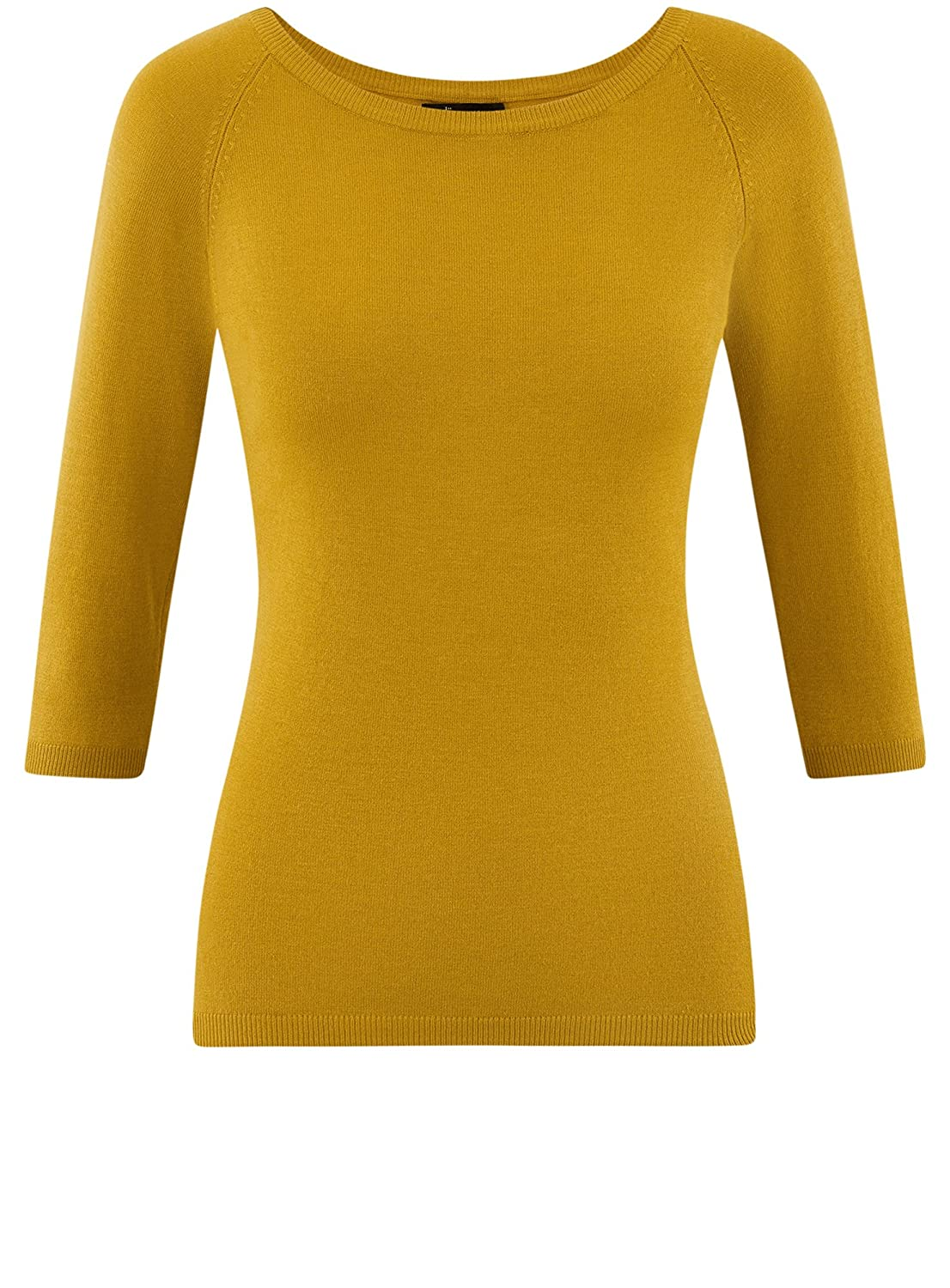 oodji Collection Womens Basic 3//4 Sleeve Pullover