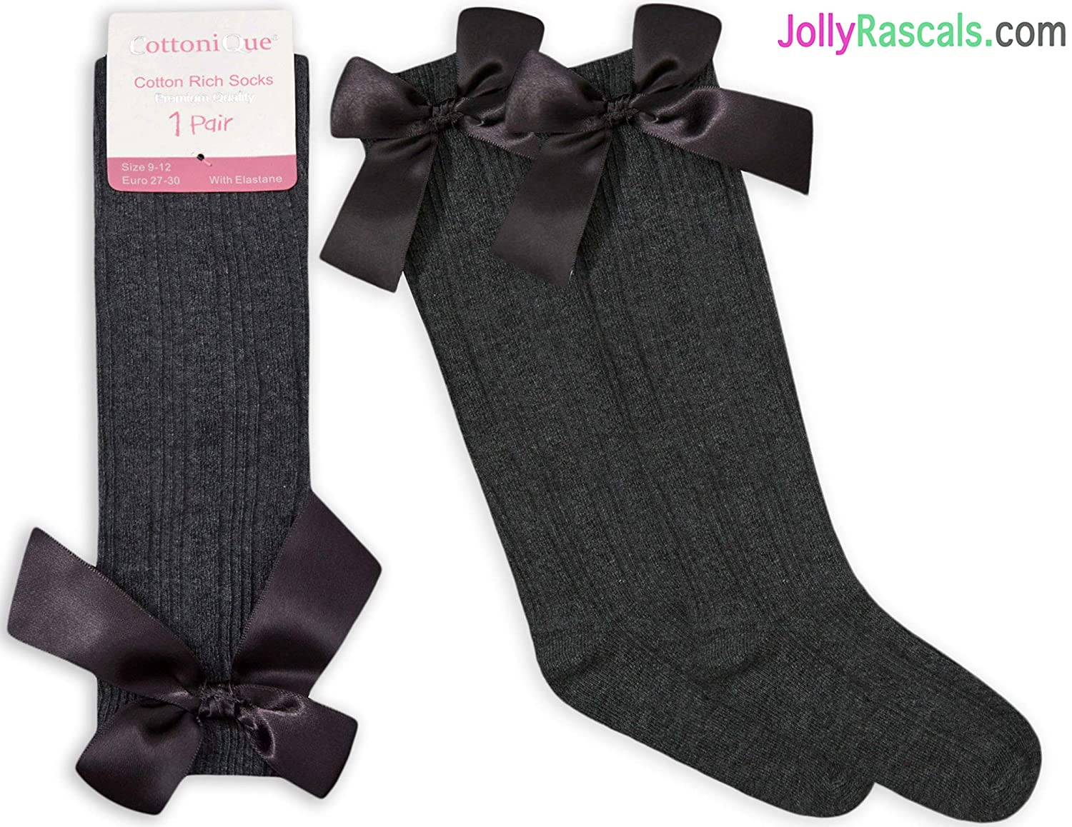 JollyRascals Girls Knee High Socks with Bow Kids New Cotton Rich School Socks 6 Colors All UK Sizes