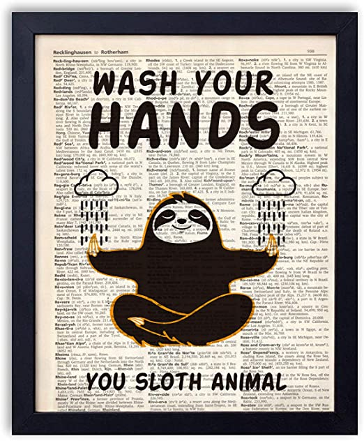 Amazon Com Yuzi N Sloth Bathroom Quotes And Sayings Vintage Book Art Prints Funny Sloth Meditation Gifts Decor Great Gift For Bathroom Decor 8x10 Unframed Hands Posters Prints