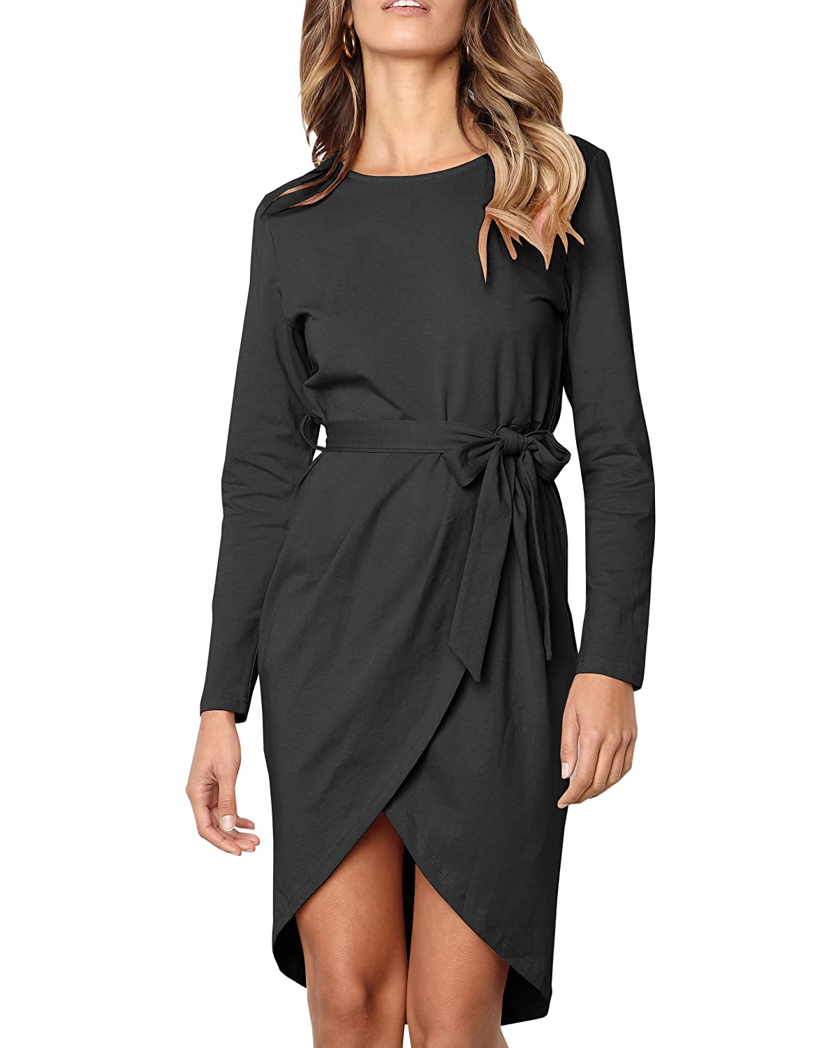 Black YeMgSiP Womens Casual Wrap Midi Dress Long Sleeve High Waist Front Slit Party Dress with Belt
