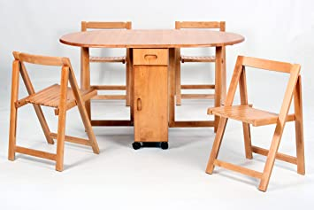 Peachy Butterfly Drop Leaf Table With 4 Foldable Chairs Machost Co Dining Chair Design Ideas Machostcouk