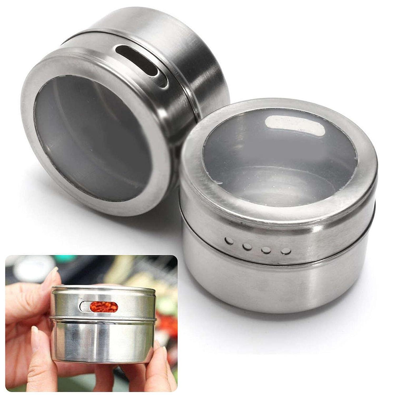Acier inoxydable Sonicee Bo/îte /à /épices magn/étique en acier inoxydable avec couvercle Transparent 1 pi/èce