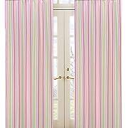 Sweet Jojo Designs 2-Piece Pink and Green Jungle Friends Stripe Window Treatment Panels