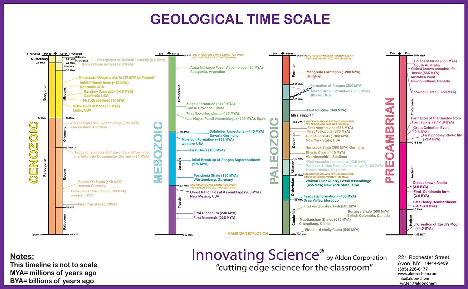11'x17' Laminated Color-Coded Geology Time Scale Poster by Innovating Science