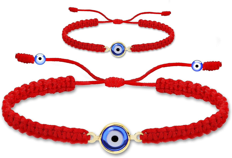 Mommy and Me Set of 2 - Red String Evil Eye Bracelet for Protection, Mal De Ojo