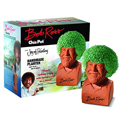 Chia Pet Bob Ross with Seed Pack, Decorative Pottery Planter, Easy to Do and Fun to Grow, Novelty Gift, Perfect for Any Occasion : Garden & Outdoor