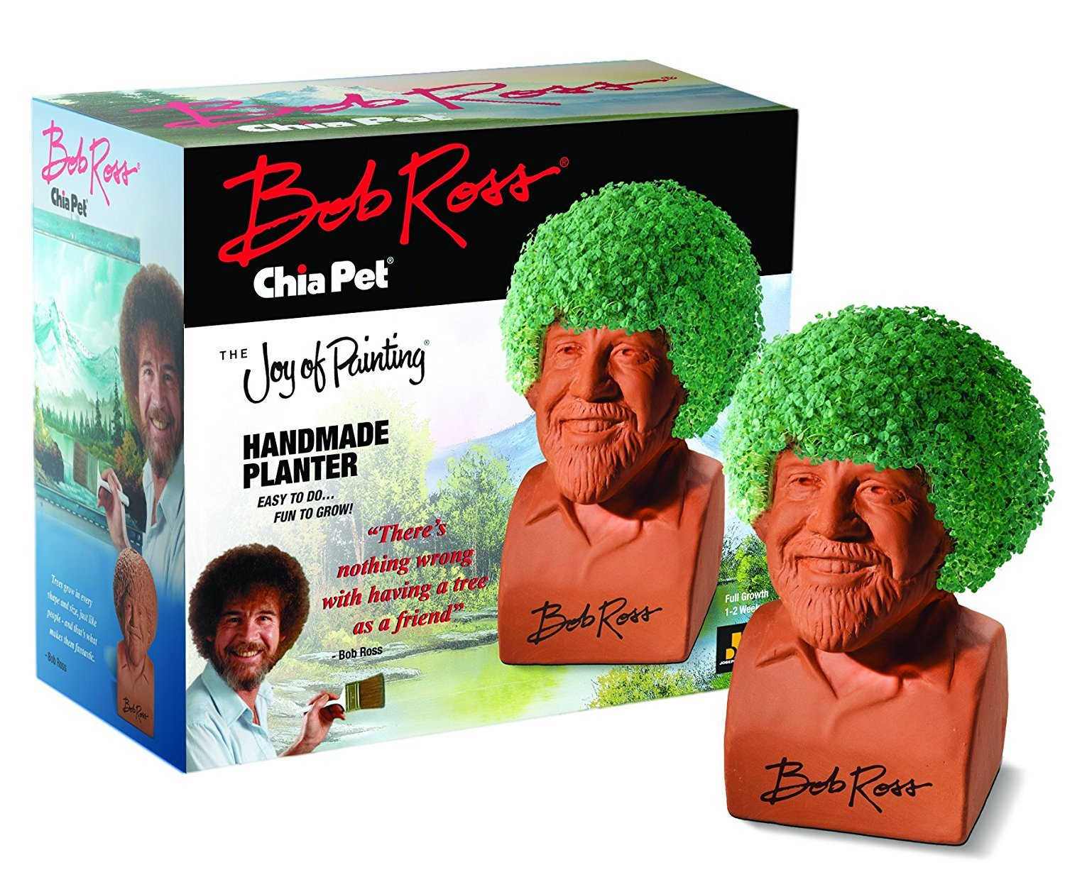 Chia Pet Bob Ross, the Joy of Painting Decorative Pottery Planter, Easy to Do and Fun to Grow, Novelty Gift, Perfect for Any Occasion (Contains Packets for 3 Plantings) by Chia