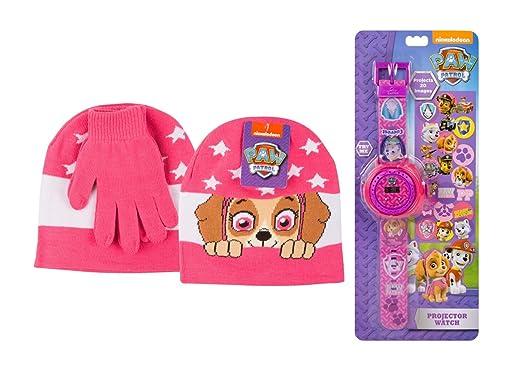 Nickelodeon Paw Patrol Rosa Skye Proyector Reloj Gorro Guantes Set ...