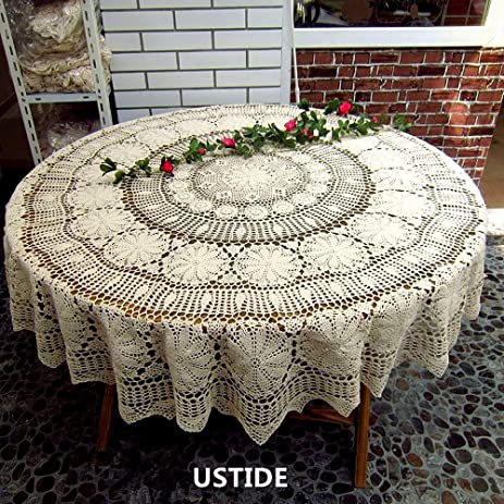 Captivating Ustide 70 Inch Round Tablecloth Handmade Crochet Cotton Tablecloths Beige  Tablecloth