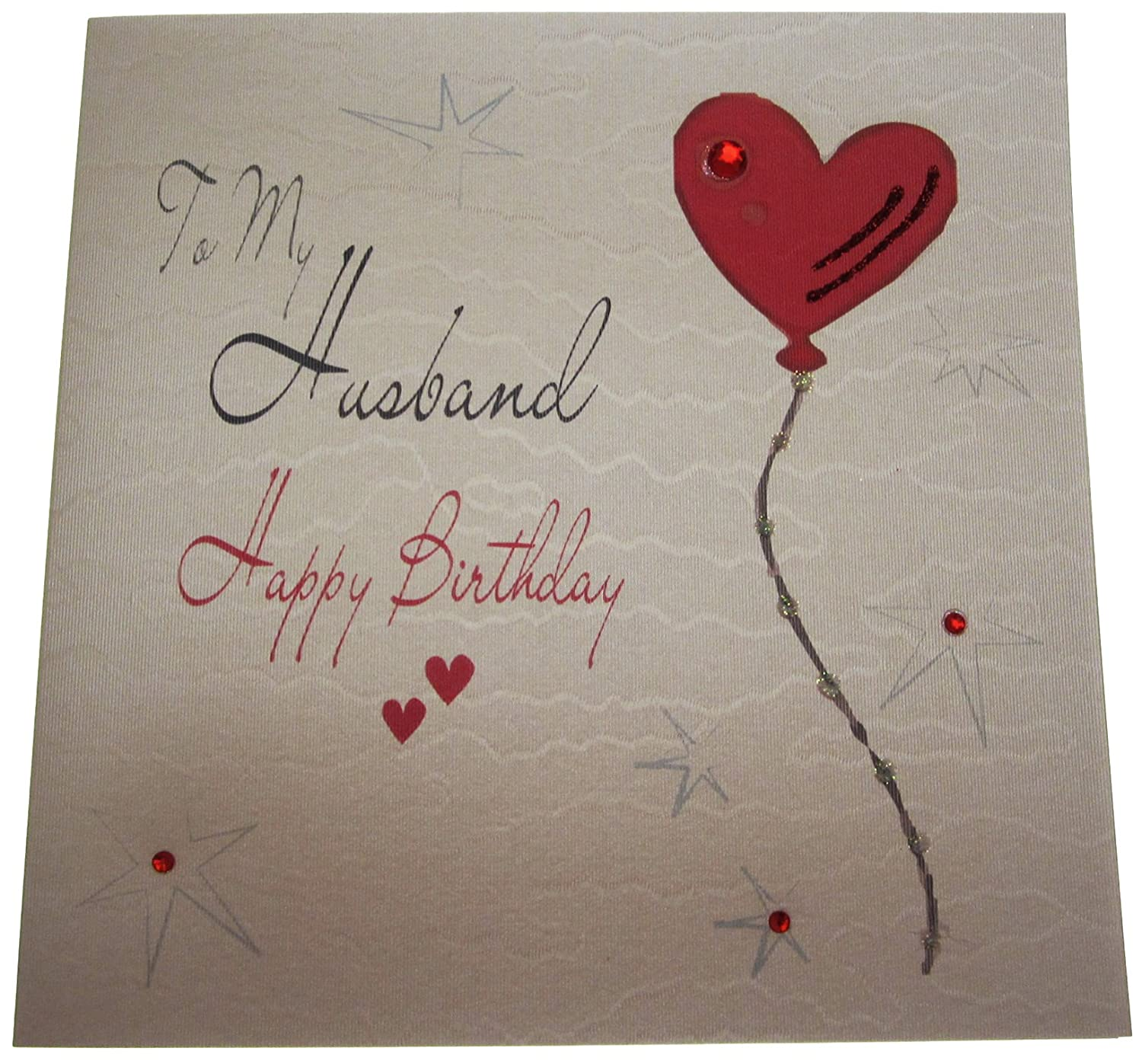 white cotton cards WB194 Heart Balloon To My Husband Happy – Birthday Card for My Husband