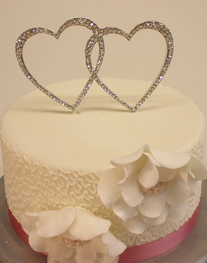 WEDDING CAKE DIAMANTE RHINESTONE DOUBLE LOVE HEART SILVER CAKE ...