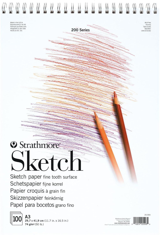 Strathmore SKETCH Serie 200 - Blocco da disegno, formato DIN A3, 74 g/m2, 100 fogli