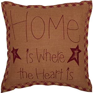 VHC Brands Ninepatch Star Home Text Cotton Primitive Bedding Embroidered Square Pillow, Burgundy Red