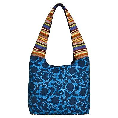 d1467dbe1a Amazon.com  Anekaant Florid Blue   Multi Canvas Hobo Bag  Shoes