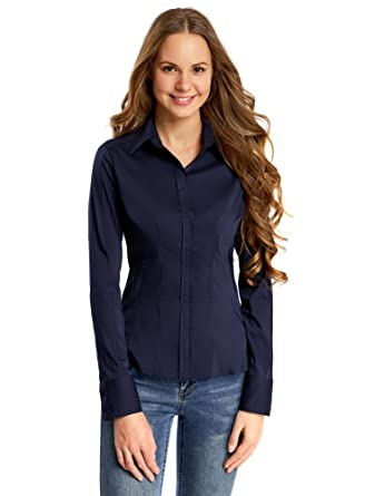 online store 1613f ac41d oodji Collection Donna Camicia in Cotone Aderente