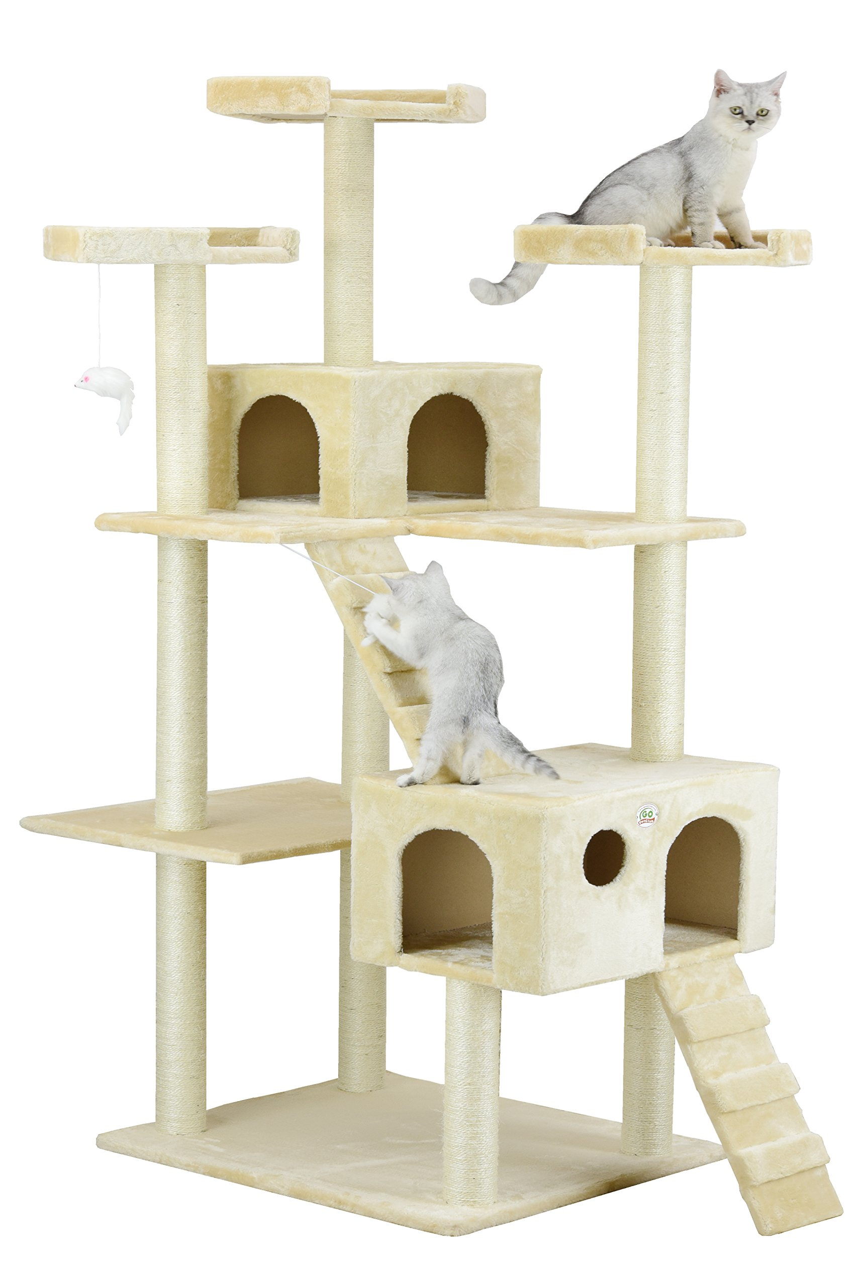 Go Pet Club Cat Tree, 50W x 26L x 72H, Beige by Go Pet Club