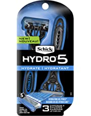 Schick Hydro 5 Disposable Razor for Men with Hydrating Gel Reservoir, Pack of 3