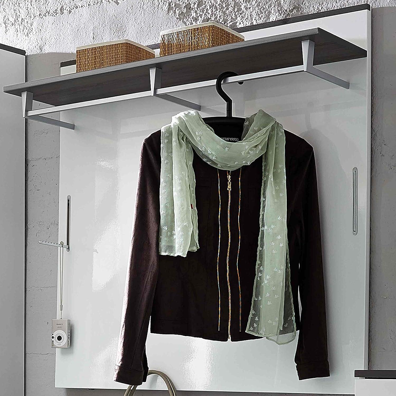 E-combuy Möbel Garderoben-Paneel in weiß Hochglanz grau, 1 Boden mit Kleiderstange, 2 Klapphaken, Breite 100 c, Höhe 99 cm, Tiefe 30 cm