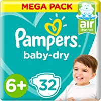 Pampers Baby-Dry Diapers, Size 6+, Extra Large+, 14+kg, 32 Count