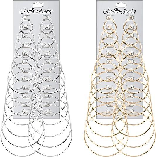 Dorado Avmy Fashion Hoop Earrings with Rhinestone Circle Earrings Pendientes Simples Big Circle Gold Color Loop Pendientes para Mujer