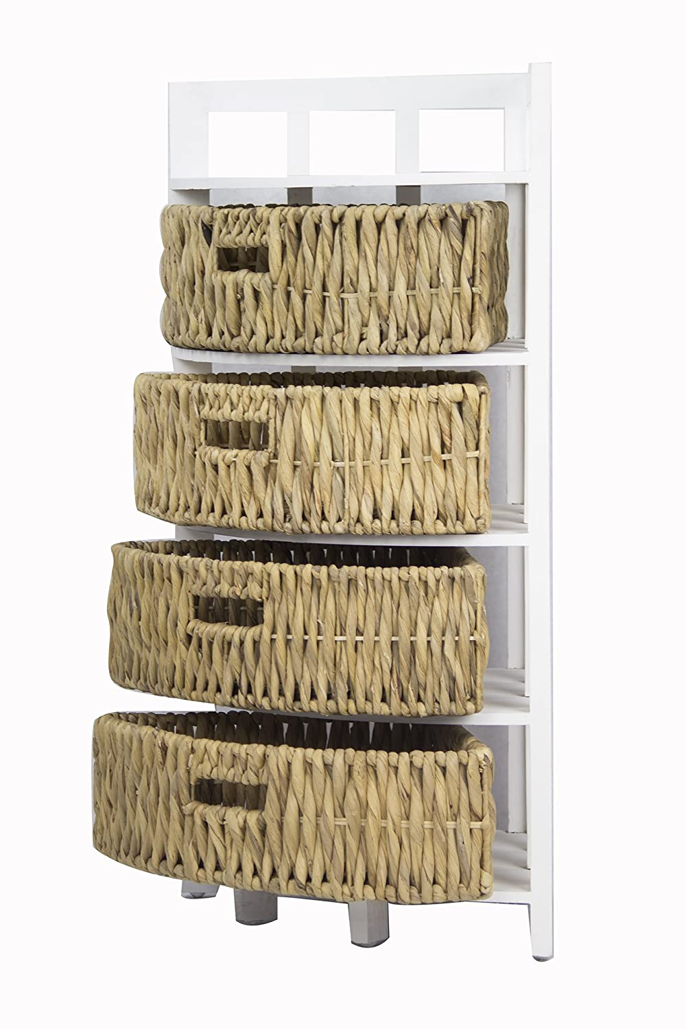 Heather Ann Creations Vale Collection Bohemian Corner Storage Cabinet With Four Removable Basket Drawers, Wicker Finish, White/Wicker