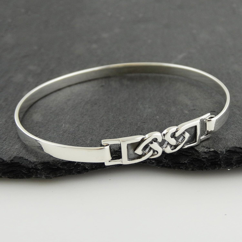 FashionJunkie4Life Sterling Silver Celtic Knot Hearts Bangle Bracelet with Latch