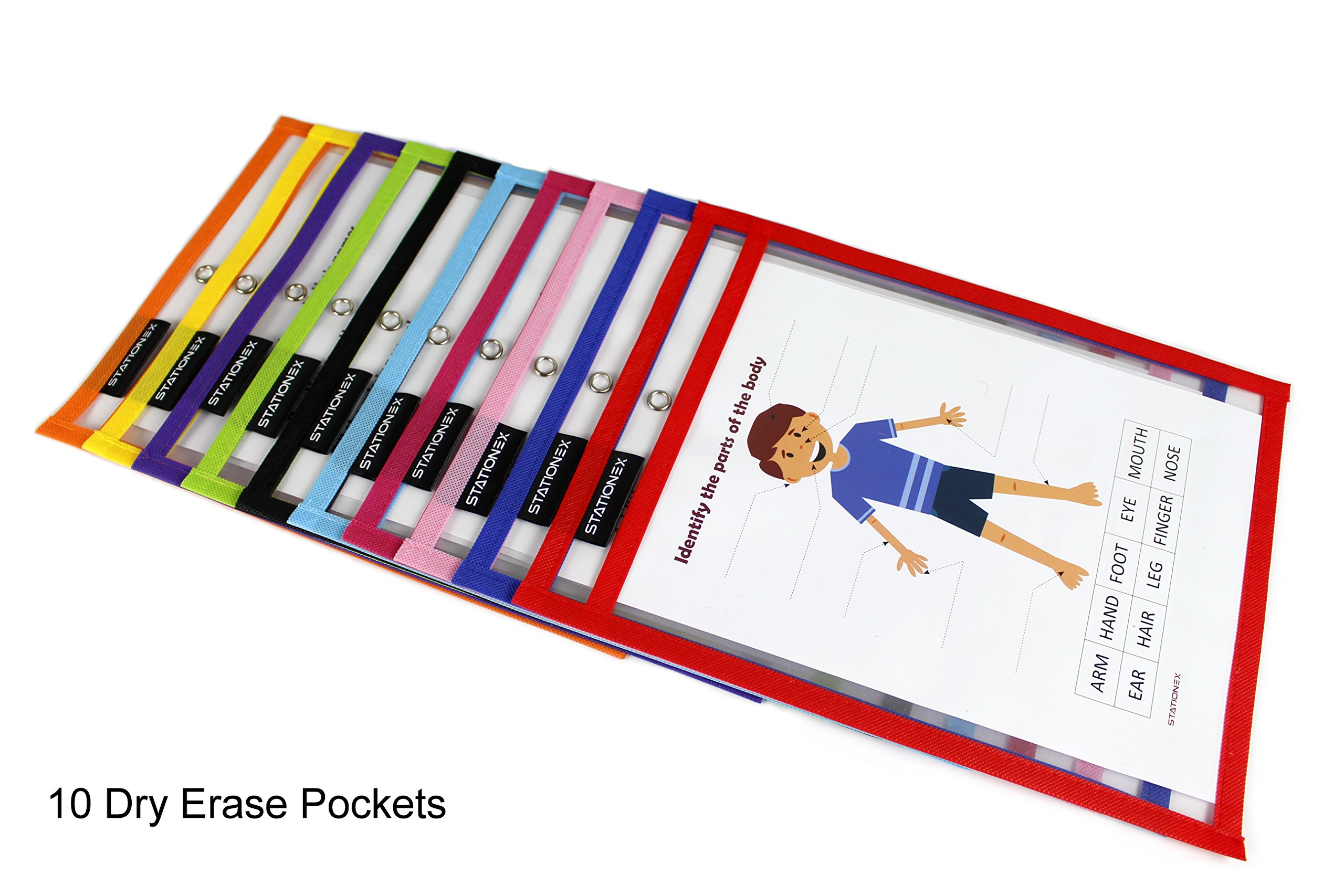 Reusable Dry Erase Pockets, Large Size 10 x 13 Inches, 10 Assorted Color Write and Wipe Off Sleeves + 2 Erasers per Pack - by Stationex by Stationex (Image #2)