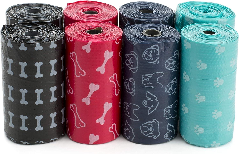 adjuntar a su Correa Bolsas para Perros y dispensadores de desechos Caja de Regalo para los Amantes de los Perros Juegos de Bolsas de Basura 8 o 16 Tri-Coastal Design 8 Roll Pastel
