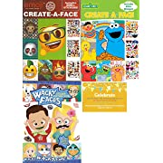 Create a Face Bundle for Toddlers: 1 Emoji Create-A-Face, 1 Sesame Street Create-A-Face, 1 Wacky Faces Sticker Book with Celebrate Post Card