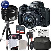Canon EOS M50 Mirrorless Camera w/15-45mm (Black) + 2 x 32GB + Deluxe Photo Bundle
