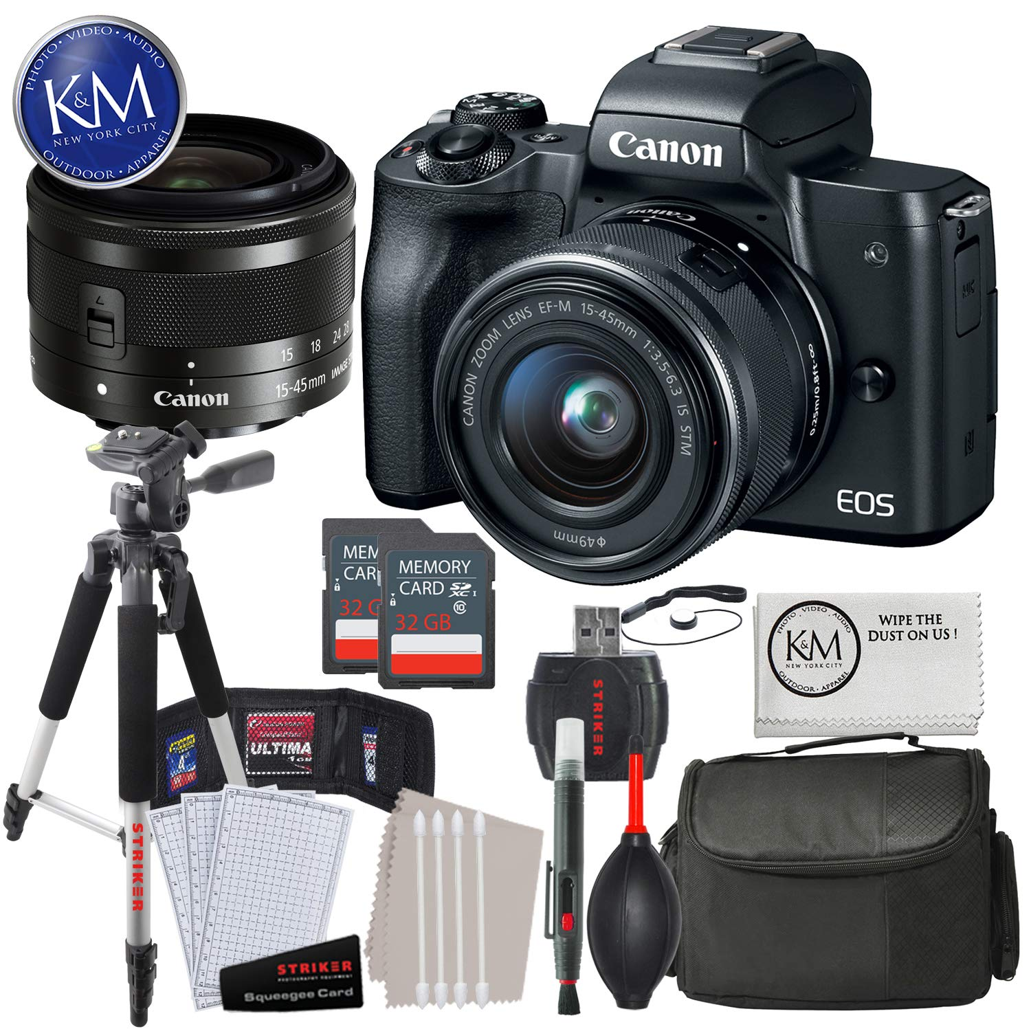 Canon EOS M50 Mirrorless Camera w/15-45mm (Black) + 2 x 32GB + Deluxe Photo Bundle by Canon (Image #1)