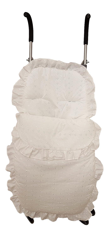 Alta calidad británico hecho grueso acolchado blanco crema/marfil azul rosa Broderie Anglaise universal cochecito/cochecito/sistema de viaje saco/dedo del pie acogedor (Blanco) Generic