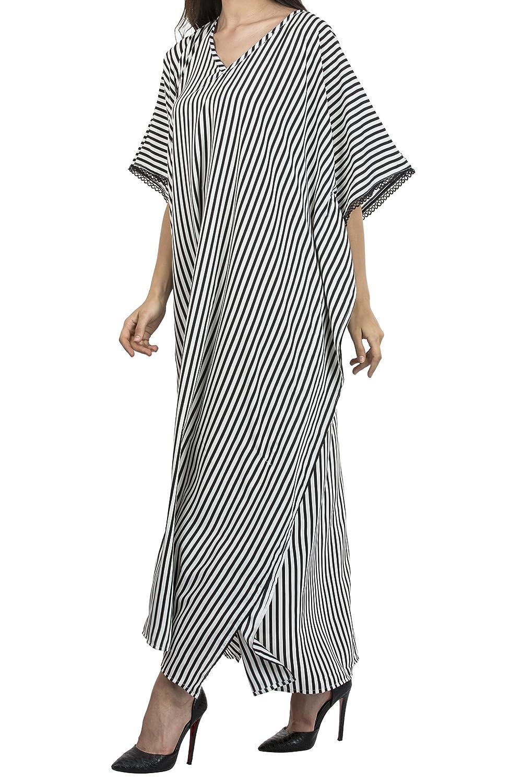 166016fb6b5 Miss Lavish Women s Kaftan Tunic Kimono Maxi Dress Summer Beach Cover Up  Plus Size Dresses (Free Size