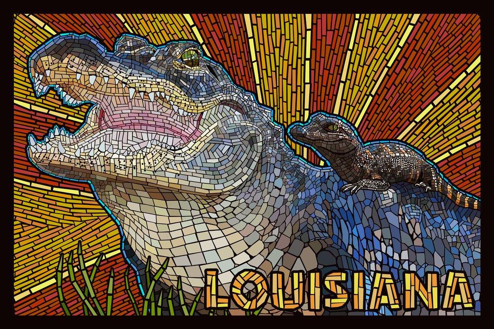 ルイジアナ州 – Alligator – モザイク 36 x 54 Giclee Print LANT-54971-36x54 36 x 54 Giclee Print  B017E9WT5I