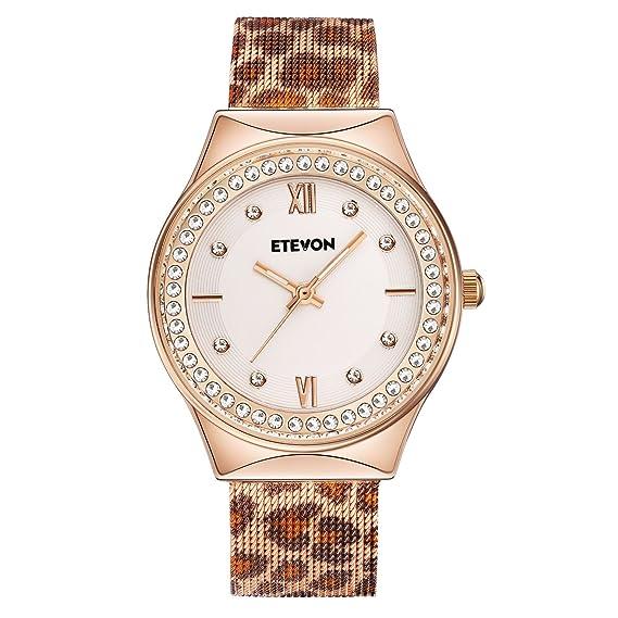 etevon mujeres de cuarzo leopardo Funda de malla de diamante reloj con rosa de cristal dorado