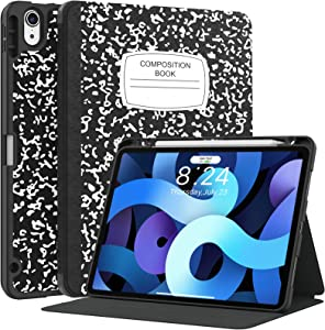 Supveco for iPad Air 4 Case with Pencil Holder -[Full Body Protection + 2nd Gen Apple Pencil Charging + Auto Wake/Sleep],Slim Lightweight Soft TPU Back Cover for iPad Air 4 Gen 10.9 Inch 2020-Book