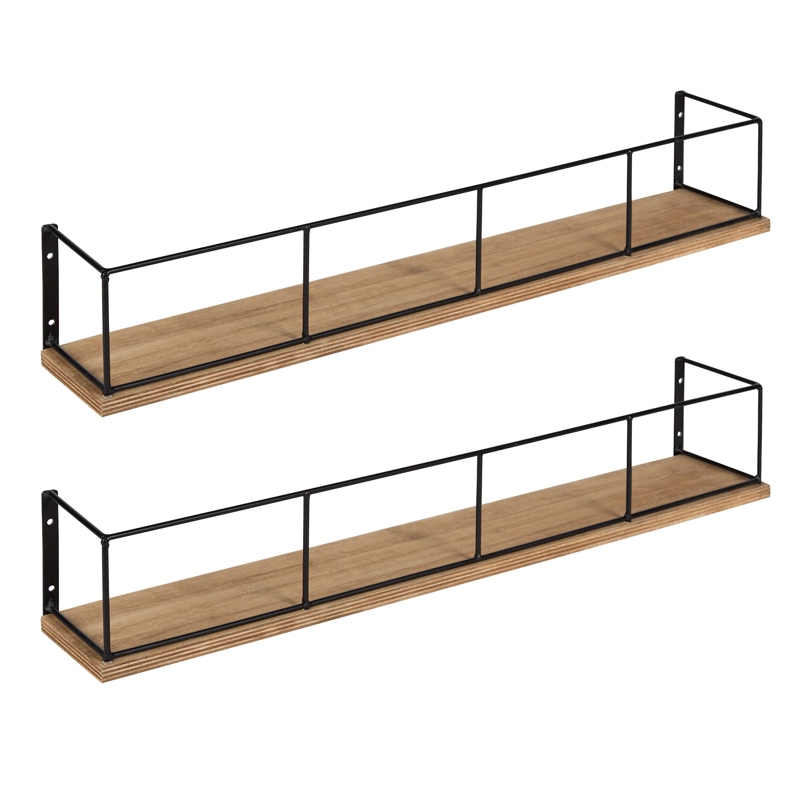 Kate and Laurel Benbrook 2-Pack Wood and Metal Floating Wall Shelves, 24'', Rustic Brown and Black