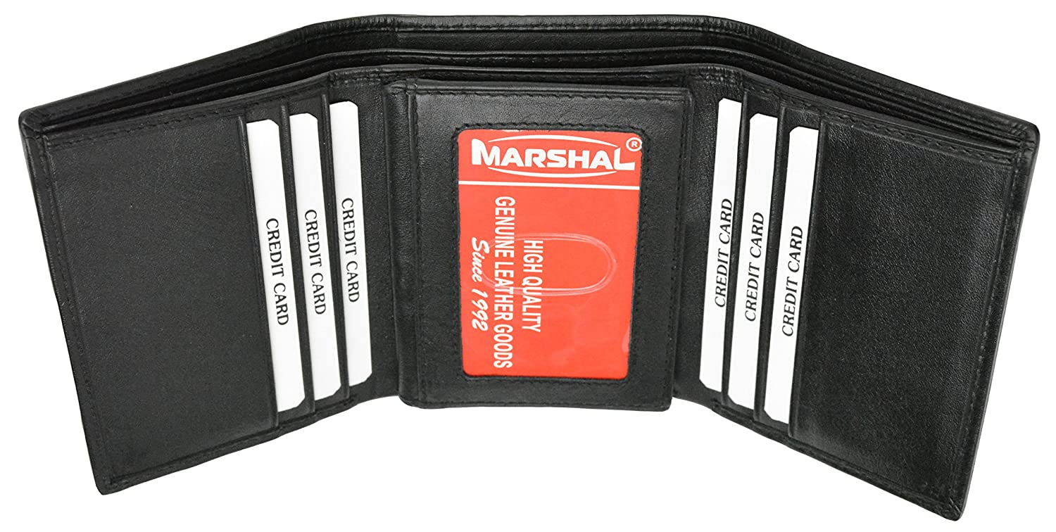 New Mens Black Leather Lamb Wallet Classic Trifold with Marshal Logo